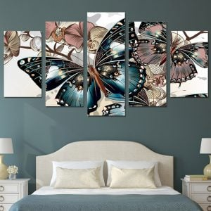 5 Panel Floral & Butterfly Art