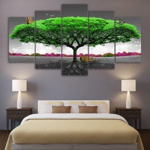 5 Panel Majestic Green Tree with Butterfly
