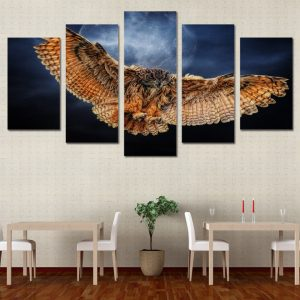 5 Panel Nght Owl Canvas Prints