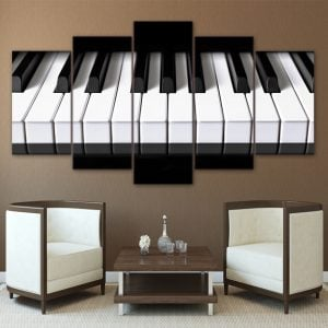 5 Panel Piano Keys Canvas Art