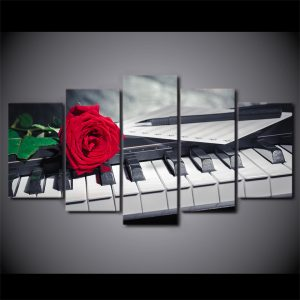 5 Panel Piano Keys with Rose
