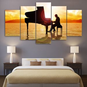 5 Panel Playing Piano Canvas Art
