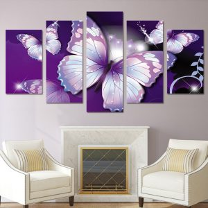5 Panel Purple Butterfly Canvas Prints