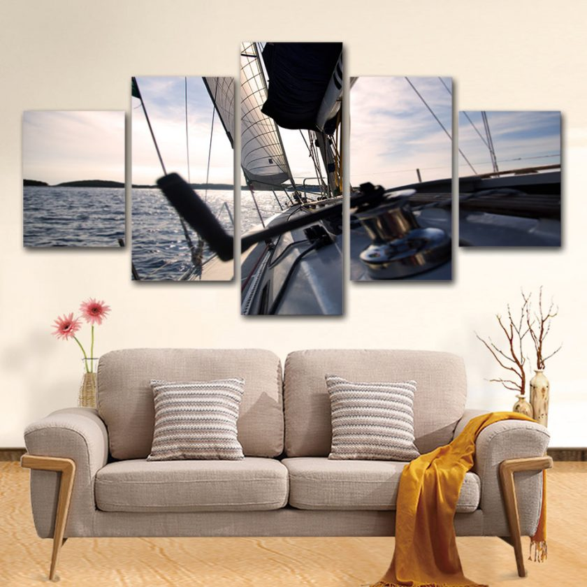 5 Panel Sailing Yacht Canvas Art