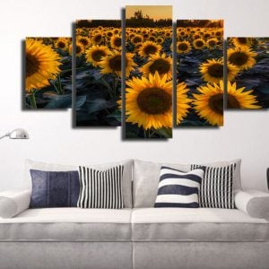 5 Panel Sunflower in Evening Field