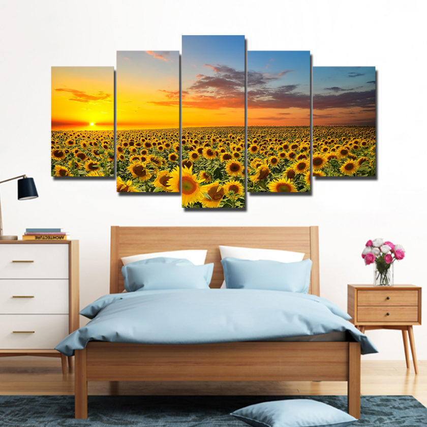 5 Panel Sunflower in Sunset Canvas Prints