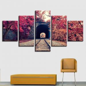 5 Panel Train Tracks & Autumn Tree