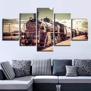 5 Panel Vintage Train & Clouds