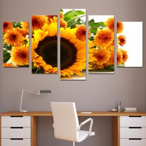 5 Panel Yellow Sunflower Wall Art