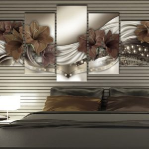 5 Panel Brown Beautiful Lily Canvas Art