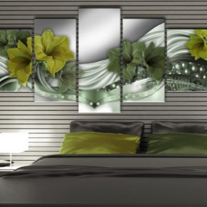5 Panel Green Beautiful Lily Canvas Art