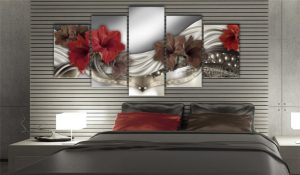 5 Panel Red Beautiful Lily Canvas Art