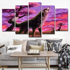 5 Panel Wolf Canvas Wall Art