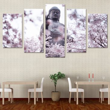 5 Panel Buddha Statue with Cherry Blossoms