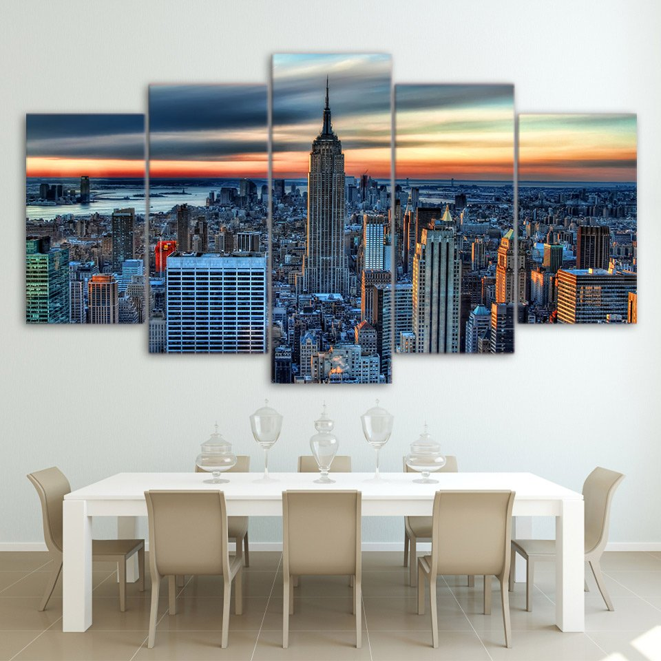 5 Panel New York City Skyscraper