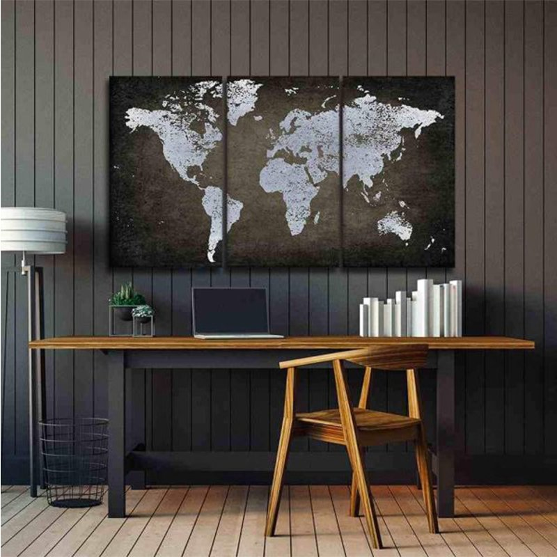 Brown And Silver World Map