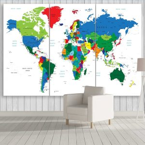 Colourful Travel World Map In White