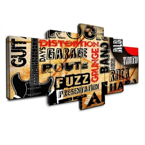 Rock and Roll Typography- 5 Panel Canvas Prints