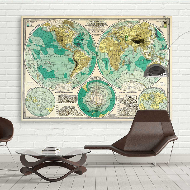 VINTAGE World Map Ship Boat Picture Canvas Print Painting Modern Art Wall Decor