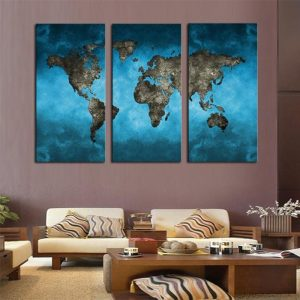 World Map In Teal