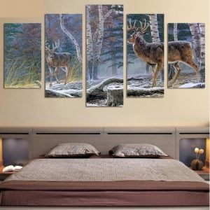 Antelopes In Snowy Jungle