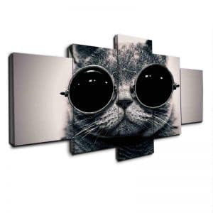 Cool Cat with Glasses - 5 Panel Canvas Prints