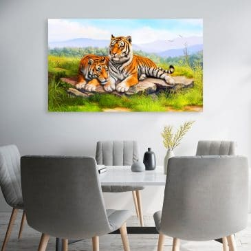 Tigers in Love Canvas Wall Art-1